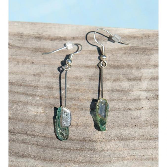 Bijoux l'Art de recycler - Boucles d'oreilles tiges - Boucles d'oreille - verre et feuille d'argent