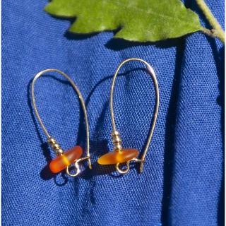 Bijoux l'Art de recycler - Boucles d'oreilles verre de mer - Boucles d'oreille - Acier