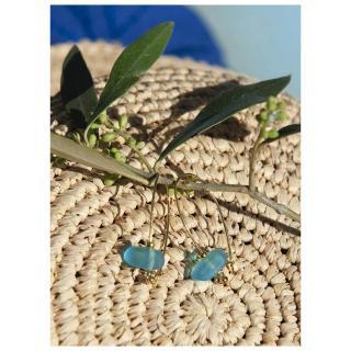 Bijoux l'Art de recycler - Boucles d'oreilles verre de mer - Boucles d'oreille - verre bleu turquoise, monture couleur or