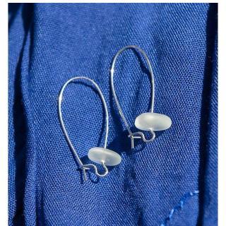 Bijoux l'Art de recycler - Boucles d'oreilles verre de mer - Boucles d'oreille - verre blanc, montures couleur argent