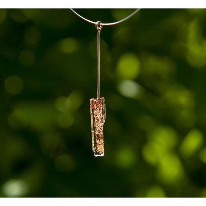 Bijoux l'Art de recycler - Collier tige - Collier - cristal et or rose