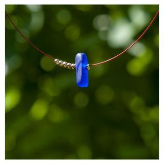 Bijoux l'Art de recycler - Collier verre de mer - Collier - verre bleu marine