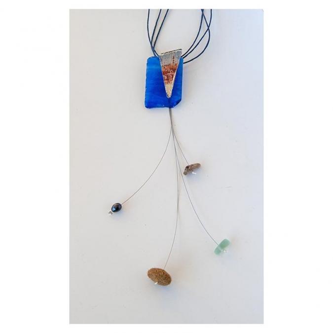 """Bijoux l'Art de recycler - Long collier """"Paysage d'Ouessant"""" - Collier - Verre"""