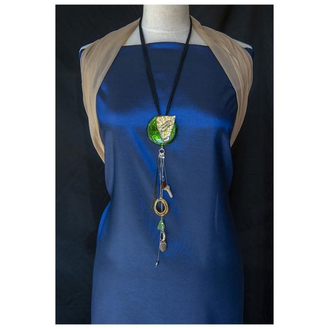 "Bijoux l'Art de recycler - Long pendentif  ""Iles perdues"" - Pendentif"