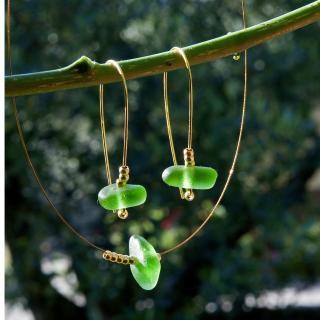 Bijoux l'Art de recycler - Parure en verre de mer - parure de bijoux