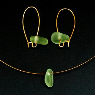 Bijoux l'Art de recycler - Parure verre de mer - parure de bijoux