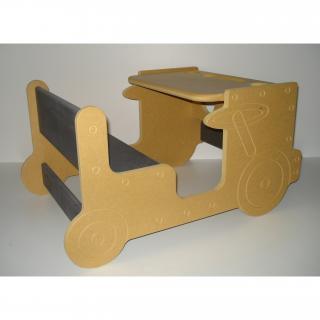 L'artisan du meuble ROLLAND - Bureau enfant bois jaune - jouet en bois