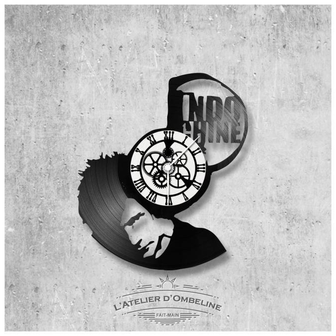 L'Atelier d'Ombeline - Horloge murale en vinyle 33 tours fait-main / thème Indochine, groupe rock, Nicolas Sirkis - Horloge -