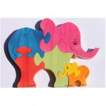 L'Atelier d'Ombeline - Puzzle en bois 3d l'éléphant et son petit : brut ou peint - puzzle éducatif