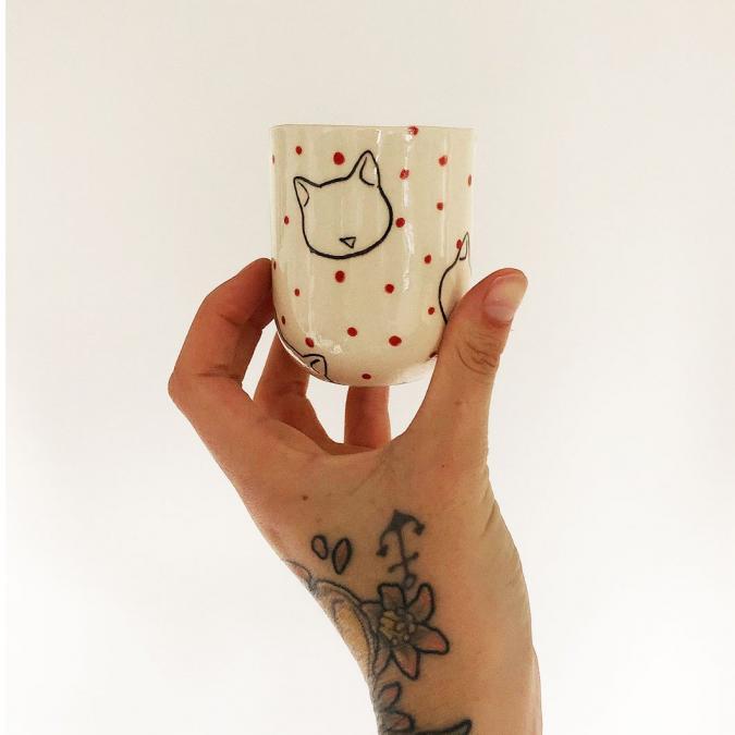 L'Atelier de Brume - Kitty cup - Tasse - grés blanc
