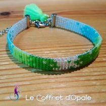 """Le Coffret d'Opale - Bracelet """"Gurin"""" tissé avec perles Miyuki en camaïeu de bleu et vert - Bracelet - argent"""