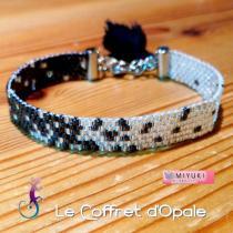 """Le Coffret d'Opale - Bracelet """"Gyorin"""" tissé avec perles Miyuki noires et argentées - Bracelet - argent"""