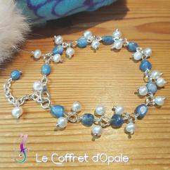 """Le Coffret d'Opale - Bracelet """"Nahiku"""" en nuggets de cyanite et perles d'eau naturelles - Bracelet - Acier"""