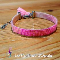 """Le Coffret d'Opale - Bracelet """"Orenji"""" tissé avec perles Miyuki en camaïeu de rose - Bracelet - argent"""