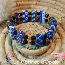 """Le Coffret d'Opale - Bracelet """"Sagan"""" tissé en perles Miyuki bleues et dorées et perles sandstone - Bracelet - argent"""