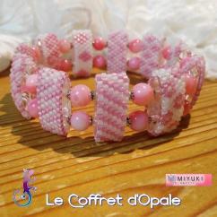 """Le Coffret d'Opale - Bracelet """"Shinju"""" tissé en perles Miyuki roses et blanches et perles de nacre - Bracelet - Verre"""