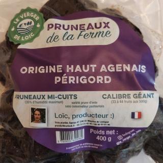 Le Verger de Loïc - Pruneaux mi-cuits entier sachet 400g x5 - Pruneaux d'Agen
