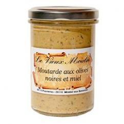 Le Vieux Moulin Alain Farnoux - MOUTARDE OLIVES NOIRES & MIEL 210G - Moutarde
