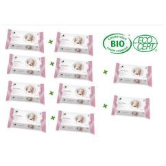 Leanorbio - Lot de 10 paquets de Lingettes Nettoyantes Bébé Bio x72 - Lingette