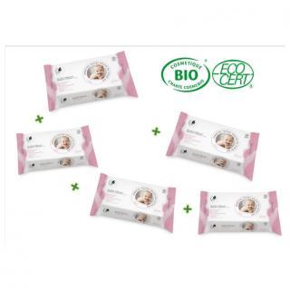 Leanorbio - Lot de 5 Lingettes Nettoyantes Bébé Bio x72 - Lingette