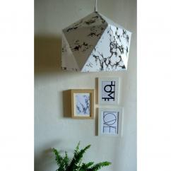 LEEWALIA - Grande suspension origami marbre blanc - luminaire - Lampe de table - ampoule(s)
