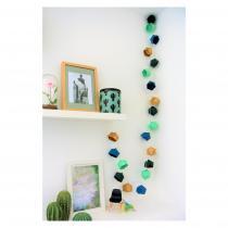 LEEWALIA - Guirlande lumineuse Origami camaïeu de bleu vert et or - Guirlande (décoration)