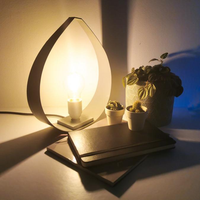 LEEWALIA - Lampe DROP small chêne et gris - Lampe de chevet - ampoule(s)