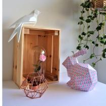 LEEWALIA - Lapin Origami blanc rose et gris pour chambre d'enfant bébé - Origami