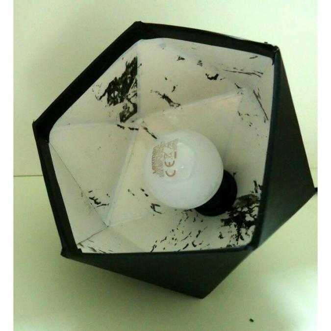 LEEWALIA - Petite lampe origami noir et marbre blanc - Lampe de table - 1ampoule(s)