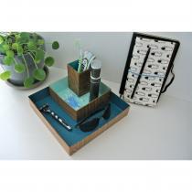 "LEEWALIA - Set de trois boîtes ""organizer"", camaïeu de bleu - Boite"
