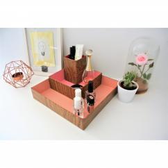 "LEEWALIA - Set de trois boîtes ""organizer"", camaïeu de rose - Boite"