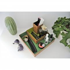 "LEEWALIA - Set de trois boîtes ""organizer"", camaïeu de vert - Boite"