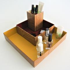"""LEEWALIA - Set de trois boîtes """"organizer"""", couleurs chaudes - Boite"""