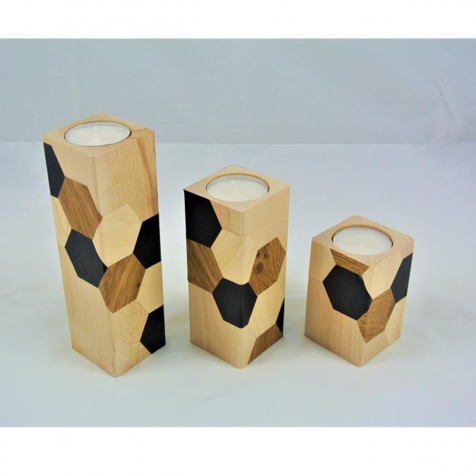 LEEWALIA - Set de trois bougeoirs en bois, hexagones, scandinave - Bougeoir - 4668bougie(s)