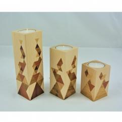 LEEWALIA - Set de trois bougeoirs en bois, marqueterie - Bougeoir - 4668bougie(s)
