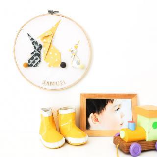 LEEWALIA - Tambours LAPINS jaune et gris - décoration chambre enfant bébé à personnaliser - Décoration enfant