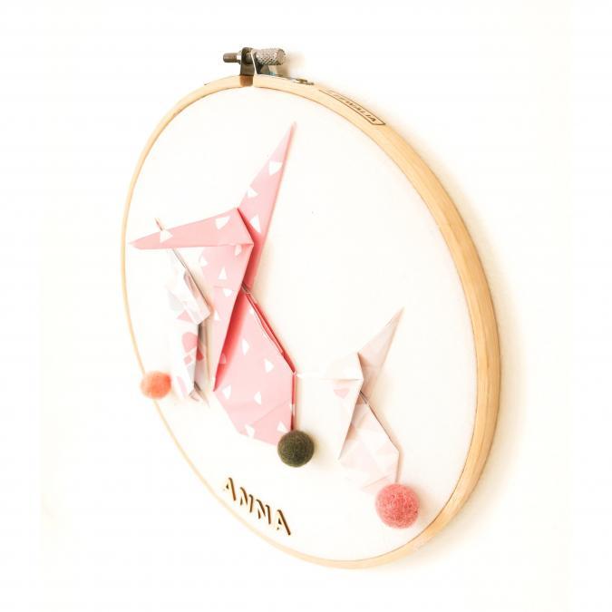 LEEWALIA - Tambours LAPINS rose et beige - décoration enfant bébé à personnaliser - Décoration enfant