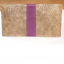 Léno cuir - Protège chéquier - Pochette (maroquinerie) - violet et doré