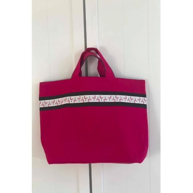 "Les Acidulés de Fab - Grand Sac Cabas ""Rose Fuschia & Flamants Roses"" - Cabas"