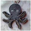 Les Fée...rmetures éclair - Liloua, petite pieuvre argentée et jaune doré - bijou de sac