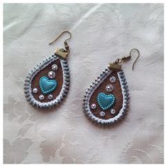 Les Fée...rmetures éclair - Paire de pendants d'oreilles, en forme de goutte en cuir marron de 4,5 cm / 3,5 cm - Boucles d'oreille - Cuir