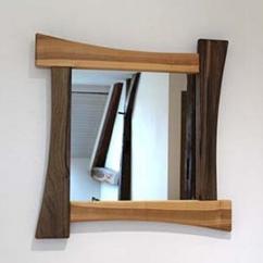 Les petits copeaux Clément GAUSSIN - Miroir en bois de Merisier & Noyer 60 x 60 cm - Miroir -