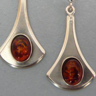 Lesbijouxquegemmes - Boucles d'oreille argenté en ambre - Boucles d'oreille - Métal (argenté)