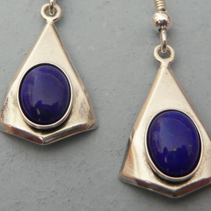 Lesbijouxquegemmes - Boucles d'oreilles argentée en lapis lazuli - Boucles d'oreille - Métal (argenté)