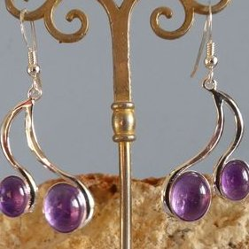 Lesbijouxquegemmes - Boucles d'oreilles en améthyste - Boucles d'oreille - Argent (silver filled)