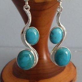 Lesbijouxquegemmes - Boucles d'oreilles en turquoise véritable - Boucles d'oreille - Métal (argenté)