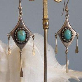 Lesbijouxquegemmes - Boucles d'oreilles en viel argent avec des turquoises - Boucles d'oreille - Métal (argenté)