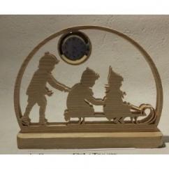 """Les cré'a'Kriss - Horloge sur pied """"enfants dans la neige"""" - Horloge -"""