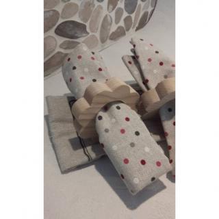 Les cré'a'Kriss - Ronds de serviette et ses serviettes - Serviette de table - Beige