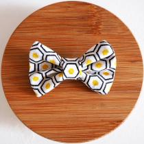 Les Nœuds-Nœuds - Barrette nœud-papillon imprimée hexagones jaune - Barrette
